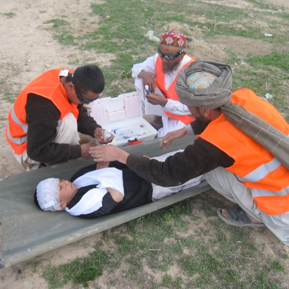 Community members practice first aid, potentially life-saving skills in emergency situations